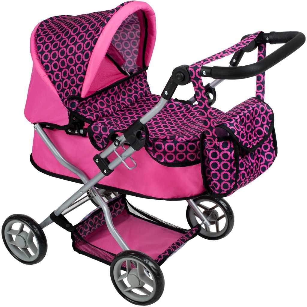 Hluboký kočárek pro panenky PlayTo Viola - růžovo-černý - fialová