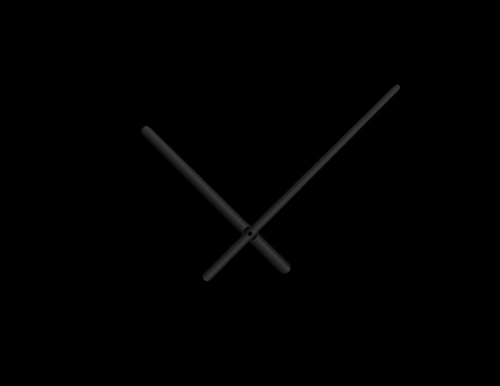 Černé oblé hliníkové ručičky na hodiny 158 mm | 113 mm