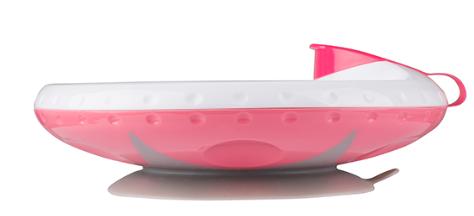 BabyOno Ohřívací talířek s přísavkou - růžová