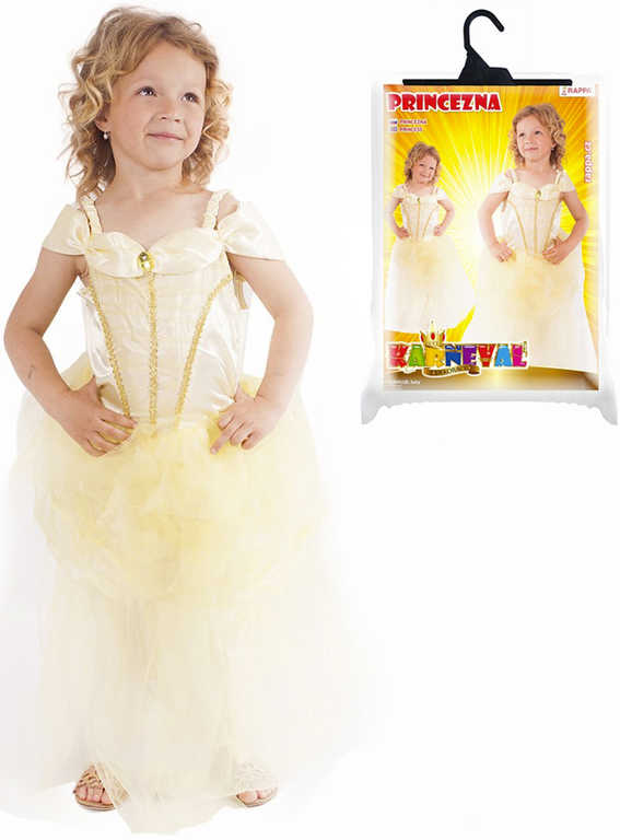 KARNEVAL Šaty Princezna žlutá vel.M (116-128 cm) 6-8 let KOSTÝM