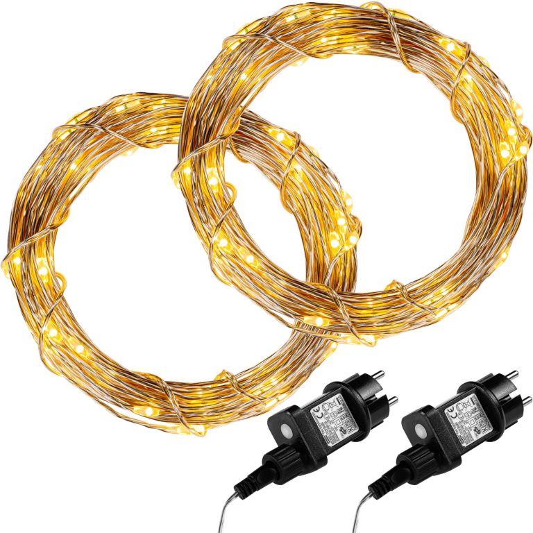 Sada 2 kusů světelných drátů - 100 LED, teple bílá