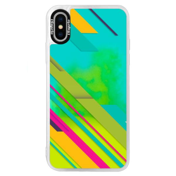 Neonové pouzdro Blue iSaprio - Color Stripes 03 - iPhone XS