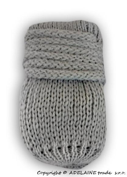 Zimní pletené kojenecké rukavičky - sv. šedé - 0-1rok