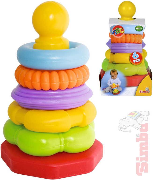 SIMBA Baby pyramida navlékací věžička 20cm s kroužky plast pro miminko