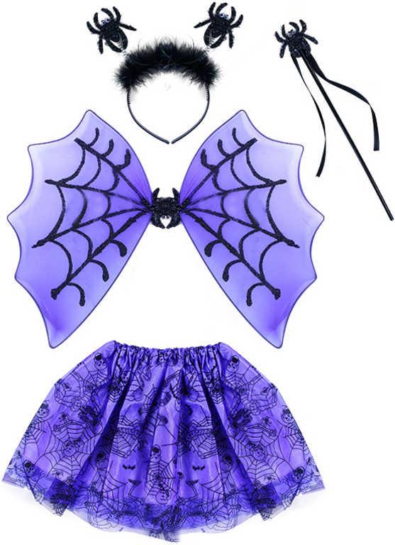 KARNEVAL Šaty pavoučí s křídly a doplňky Halloween (104-150cm) 3-10 let KOSTÝM