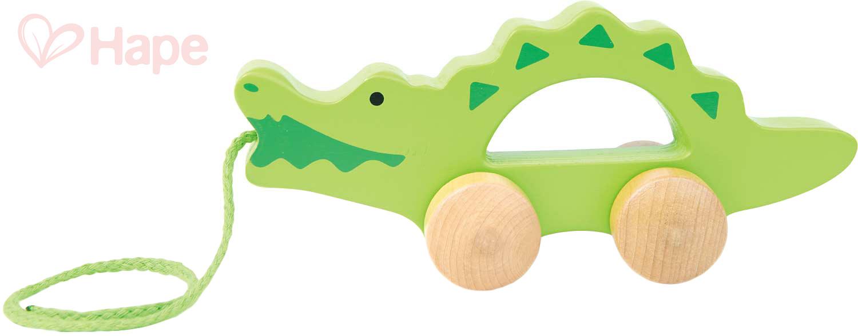HAPE DŘEVO Baby krokodýl tahací pro miminko *DŘEVĚNÉ HRAČKY*