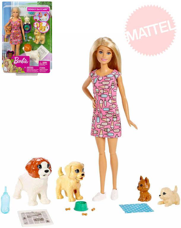 MATTEL BRB Péče o štěňátka set panenka Barbie s pejsky a doplňky