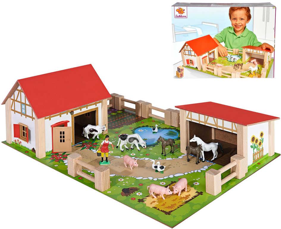 EICHHORN DŘEVO Farma herní set 2 budovy s figurkami a doplňky 25 dílů