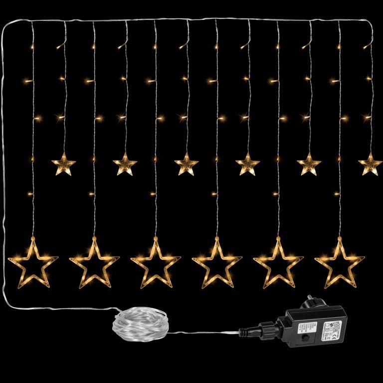 Vánoční dekorace - svítící hvězdy, 150 LED, teple bílé