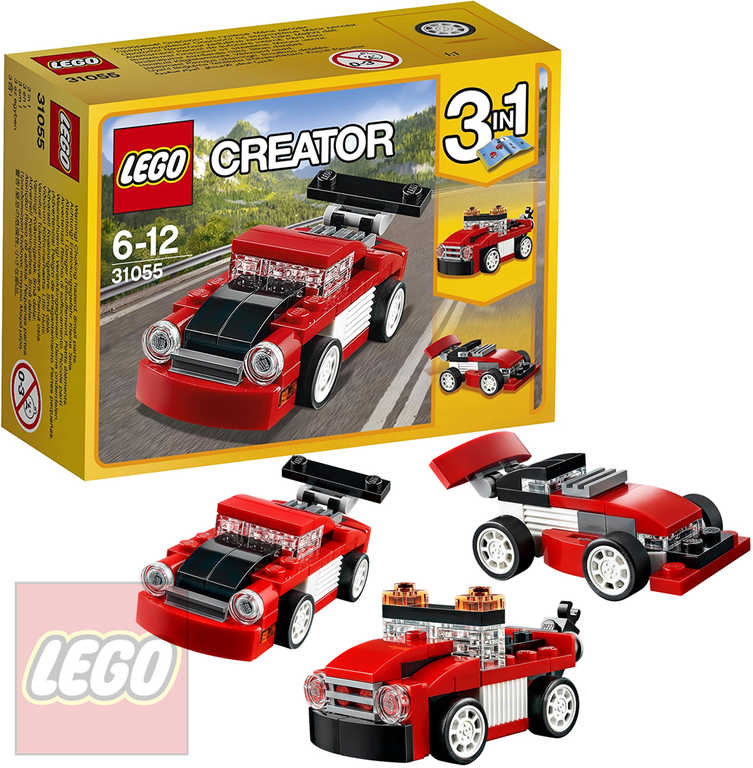 LEGO CREATOR Červené závodní auto 3v1 31055 STAVEBNICE