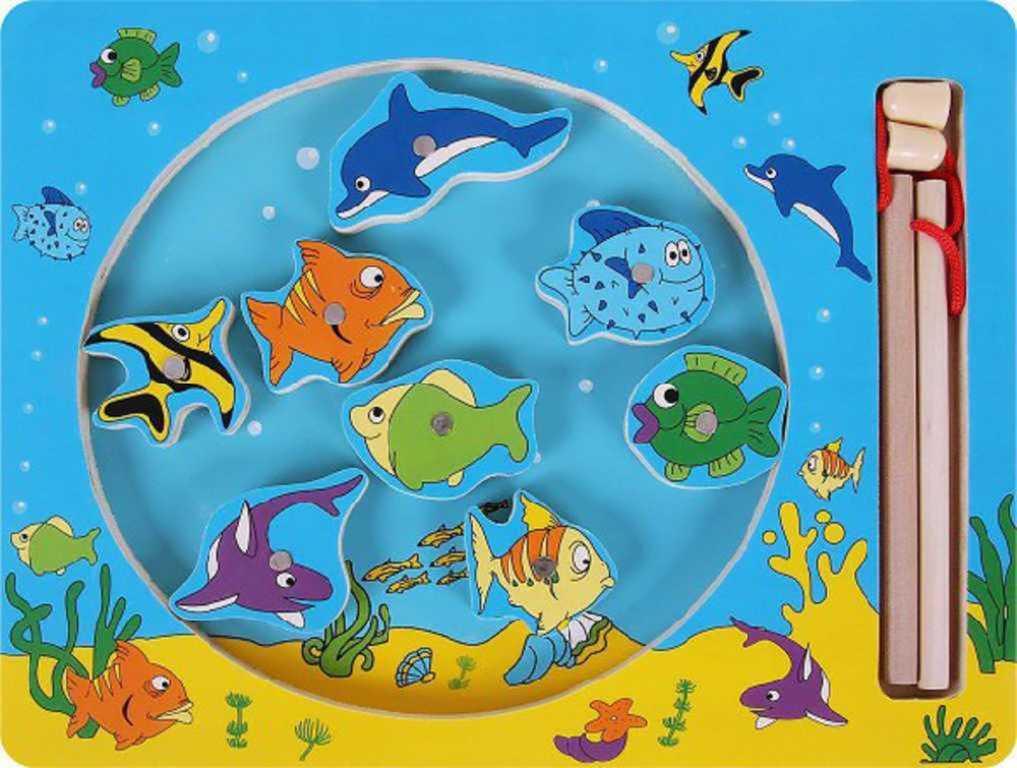 WOODY DŘEVO Kruh Rybolov magnetická hra *DŘEVĚNÉ HRAČKY*