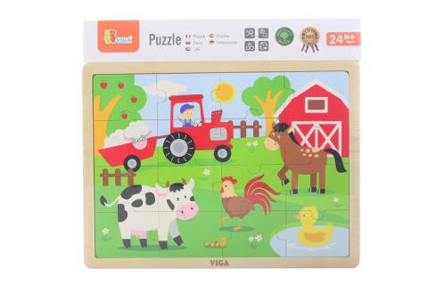 Dřevěné puzzle 16 dílků - farma
