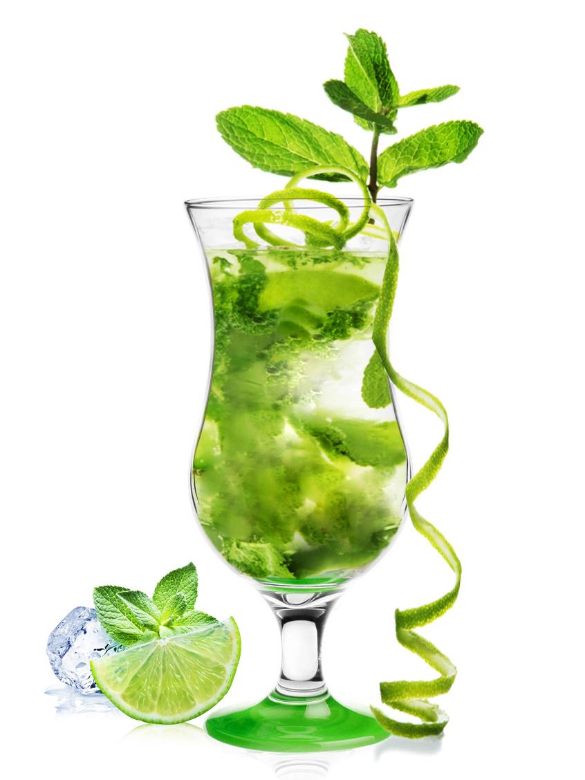 Koktejlová sklenice - 420ml, zelený podstavec