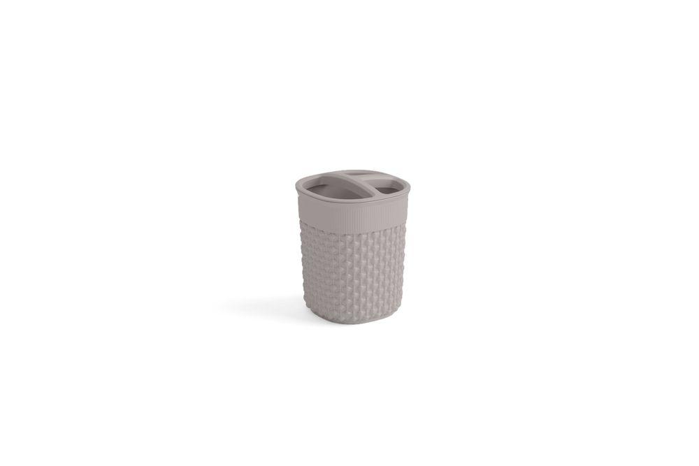 Plastový kelímek na kartáčky FILO - hnědošedý