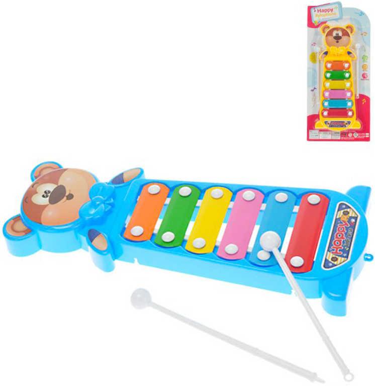 Xylofon medvídek 28cm set s paličkami různé barvy *HUDEBNÍ NÁSTROJE*