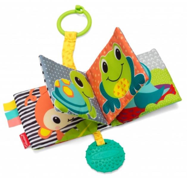 Infantino Závěsná textilní knížka s kousátkem a pískátkem - Zvířátka