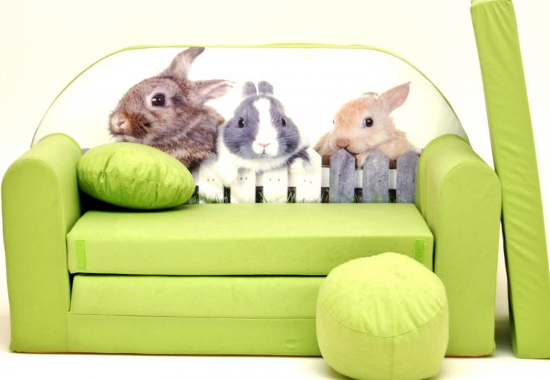 Rozkládací dětská pohovka Nellys ® 81R - Zajíčci v zelené