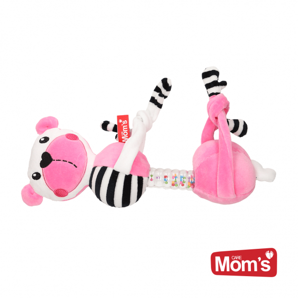 Edukační hračka závěsná s chrastítkem Medvídek - růžový
