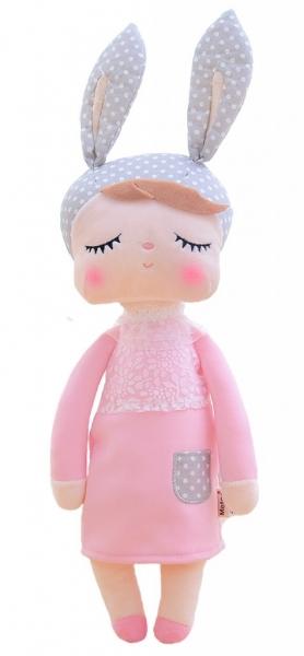 Hadrová panenka Metoo s oušky v růžových šatičkách, 42cm
