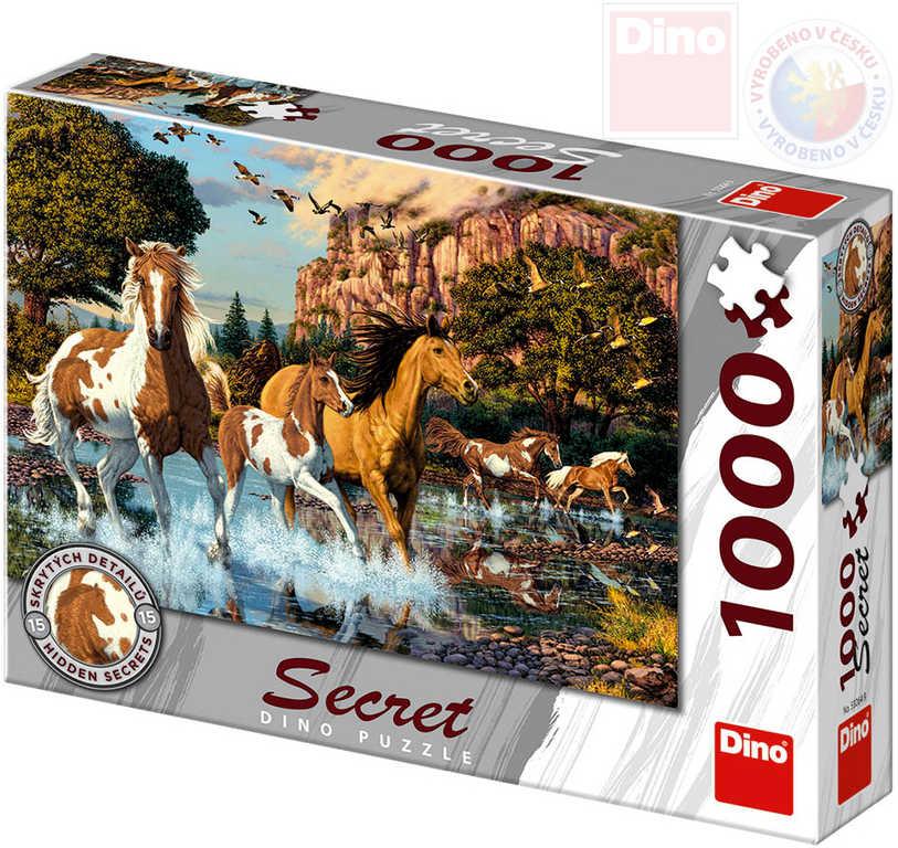 DINO Puzzle 1000 dílků Koně skrytá tajemství 66x47cm skládačka v krabici