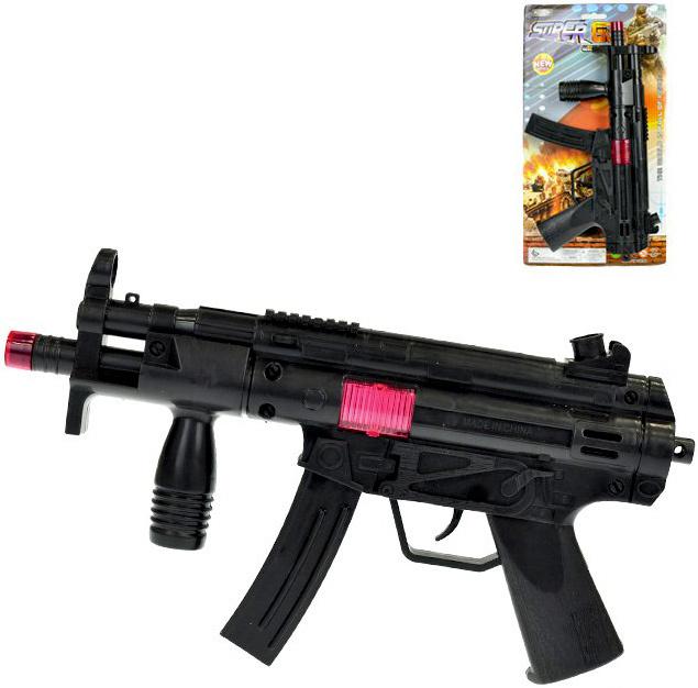 Samopal černý jiskřící 28 cm dětská zbraň na setrvačník