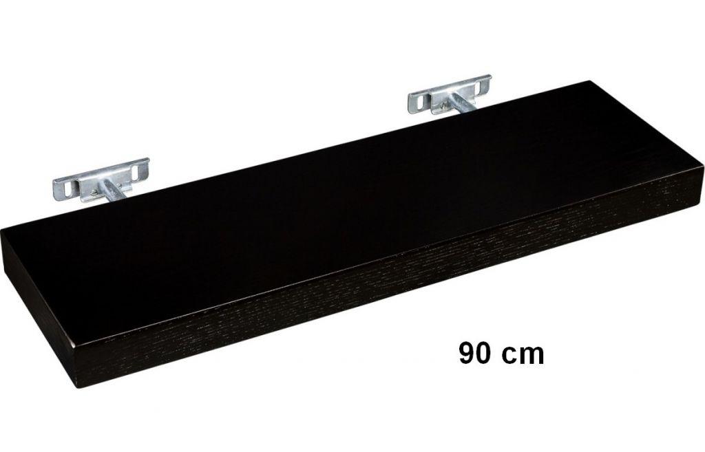 Nástěnná police STILISTA SALIENTO - hnědočerná 90 cm