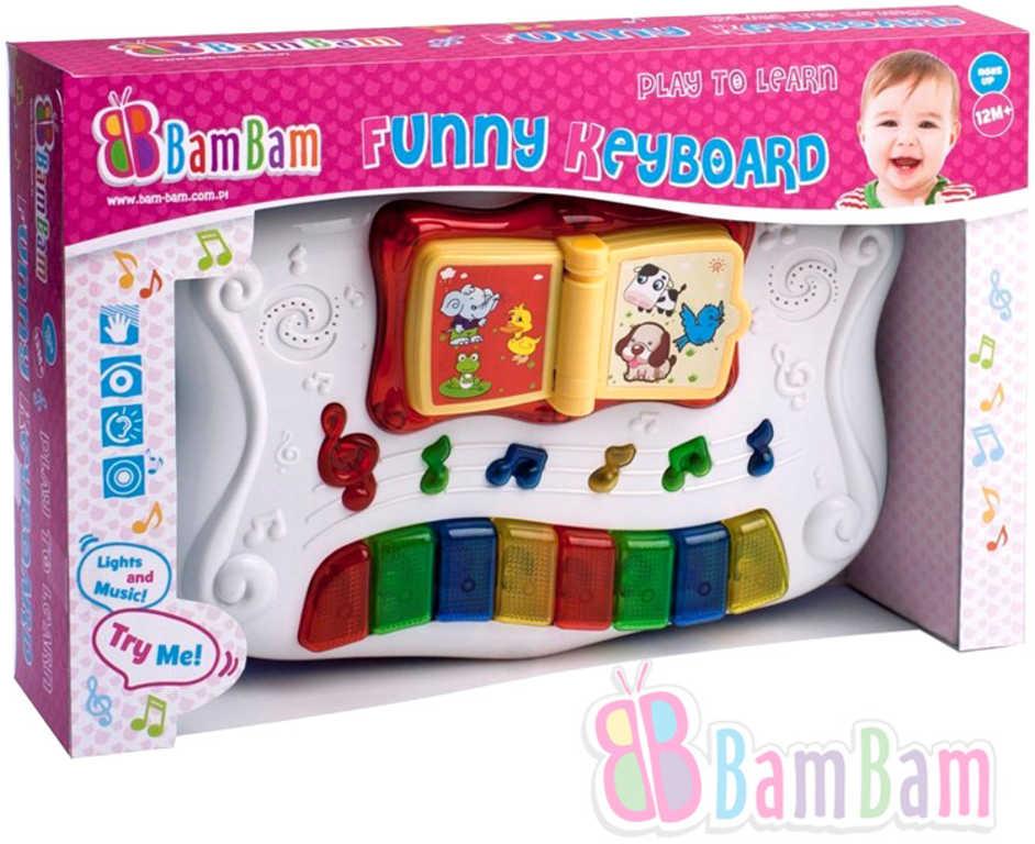 ET BAM BAM Baby keybord 30cm hudební naučný plastový Světlo Zvuk