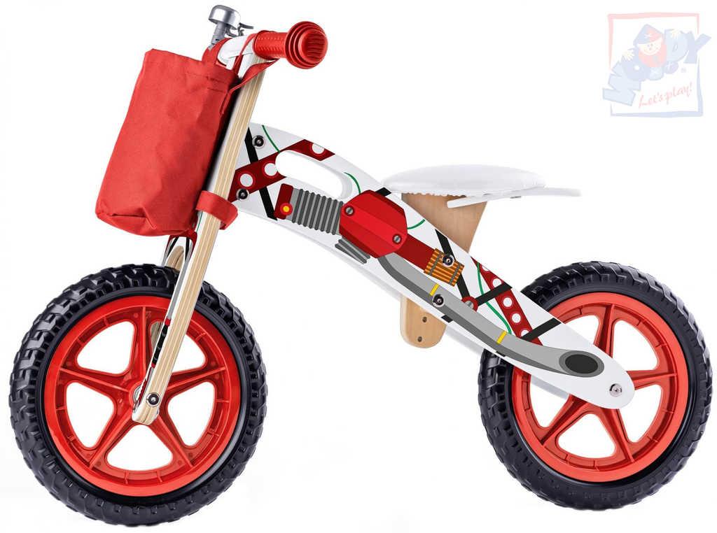WOODY DŘEVO Odrážedlo motorka červené odstrkovadlo *DŘEVĚNÉ HRAČKY*