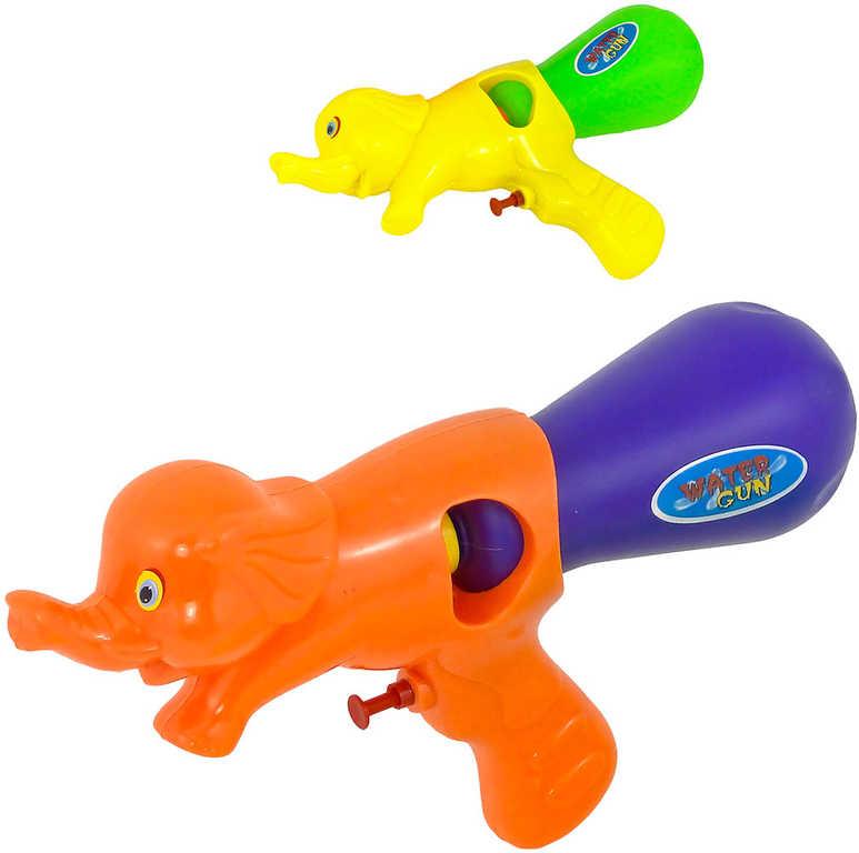 Pistole vodní stříkací slon 29cm se zásobníkem na vodu různé barvy