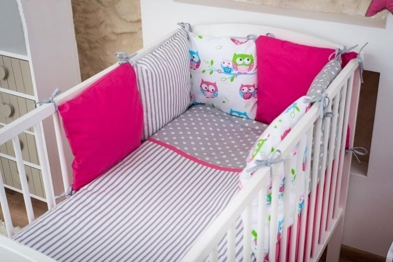 baby-nellys-polstarkovy-mantinel-s-povlecenim-135x100-sovicky-ruzova-nr-8-135x100