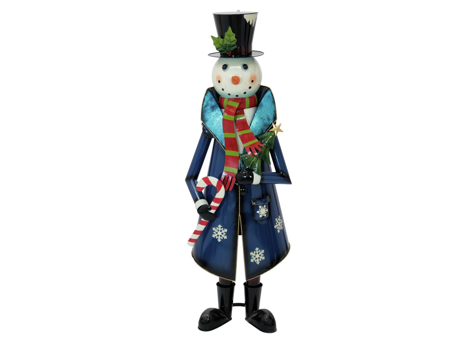 Figurína sněhuláka v kabátu, kovová, 150cm, modrá