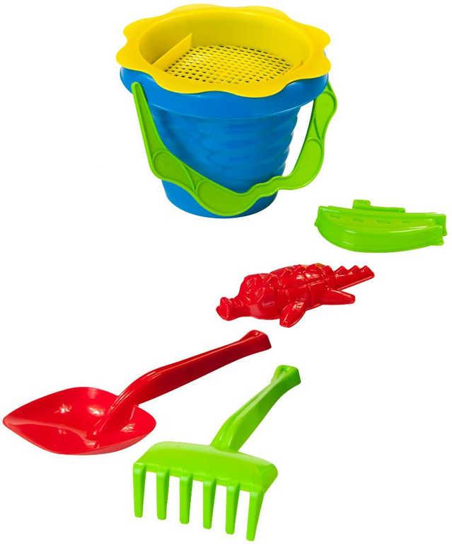 PL Baby pískový set kyblík vlnka s formičkami a nástroji 6ks