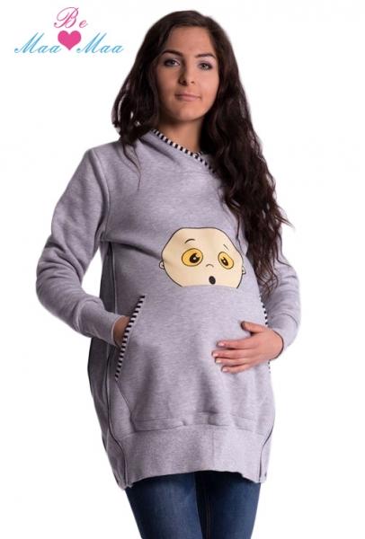 Be MaaMaa Těhotenská mikina s kapucí Beba - šedý melírek