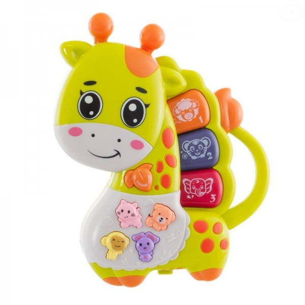 Euro Baby Interaktivní hračka s melodii pianko - hrající Žirafka, zelená