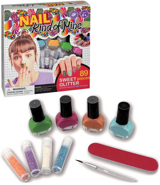 Laky na nehty se třpytkami set s pilníkem dětská kosmetika