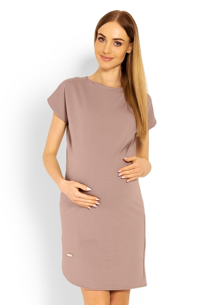 Be MaaMaa Těhotenské asymetrické šaty, kr. rukáv - cappuccino, vel. L/XL - L/XL