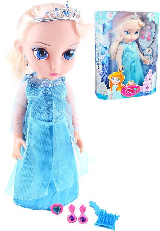Panenka zimní království princezna 39cm blondýnka modré šaty set s doplňky