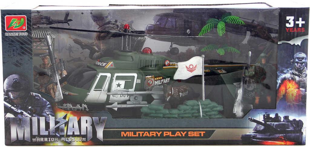 Army herní set vojenský velký vrtulník se 2 figurkami a doplňky plast