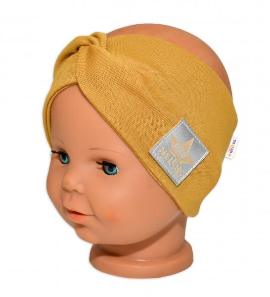 Baby Nellys Hand Made Bavlněná čelenka - dvouvrstvá, hořčicová