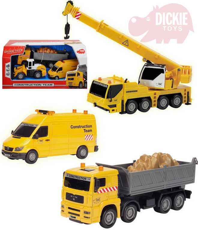 DICKIE Stavební auto 3ks sklápěčka a dodávka + stavební stroj s doplňky 3 druhy