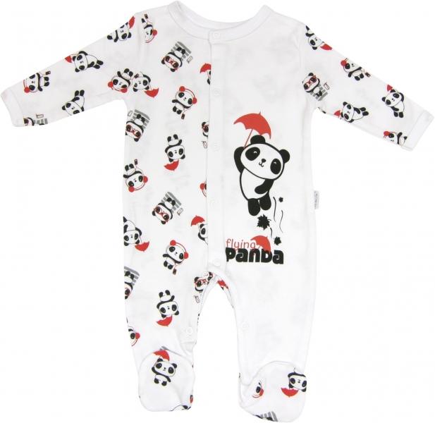 Kojenecký bavlněný overálek Panda, roz. - 74 - 74 (6-9m)