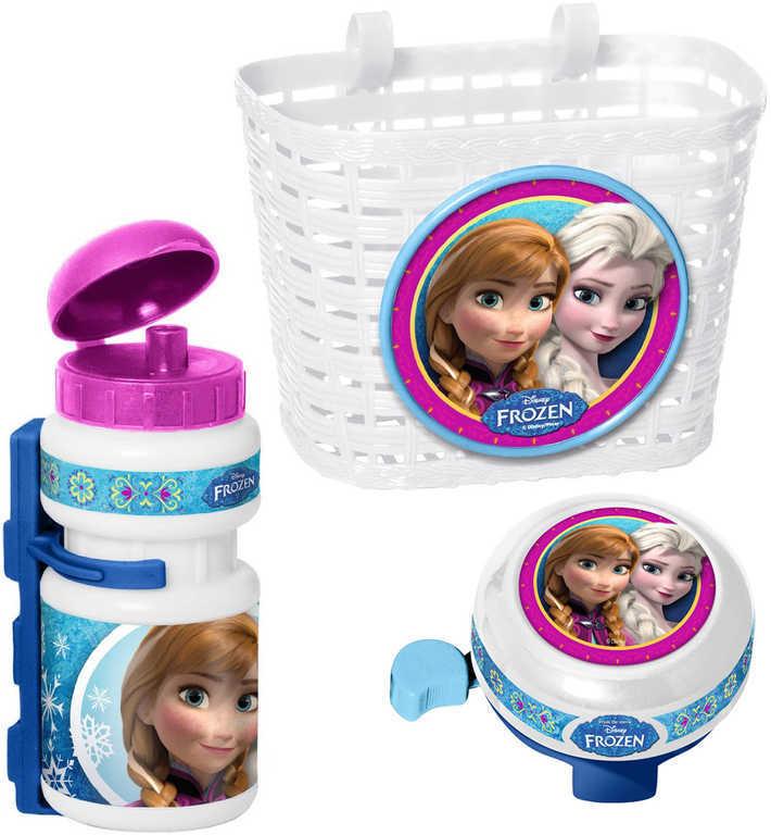 Doplňky plastové na dětské kolo Frozen set košík, láhev na nápoj, zvonek