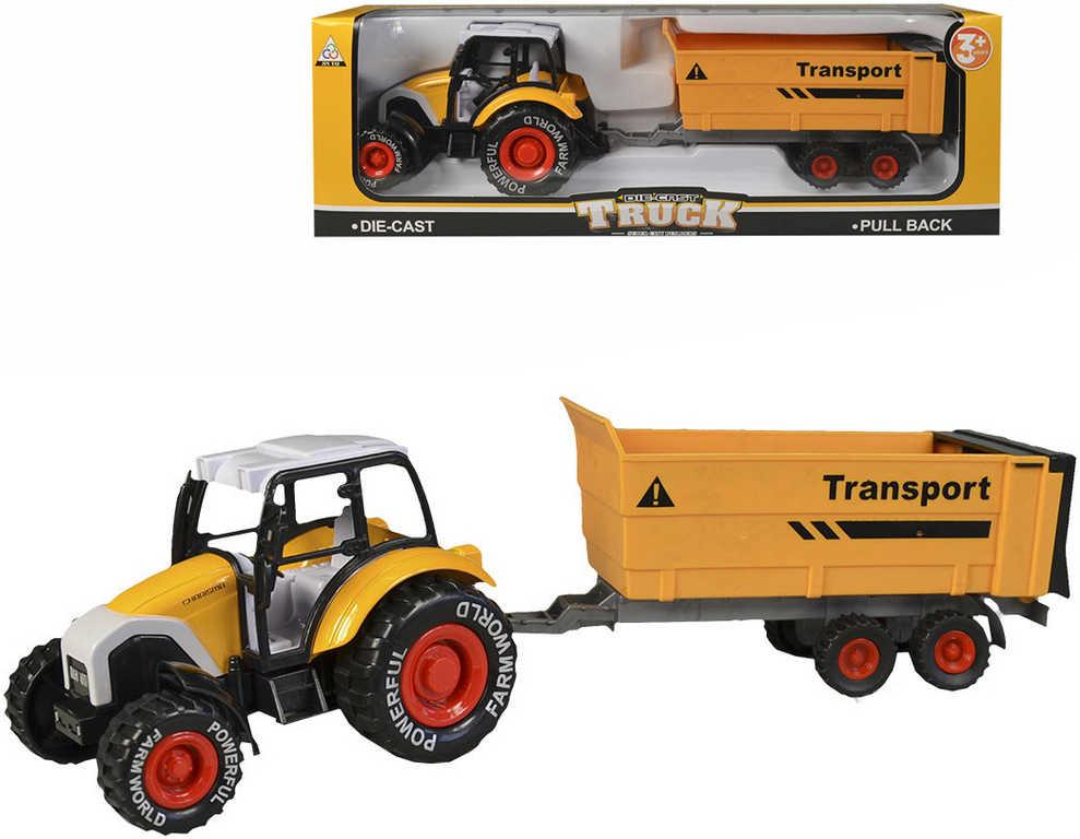 Traktor set s vlečkou kovový 35cm volný chod oranžový v krabici