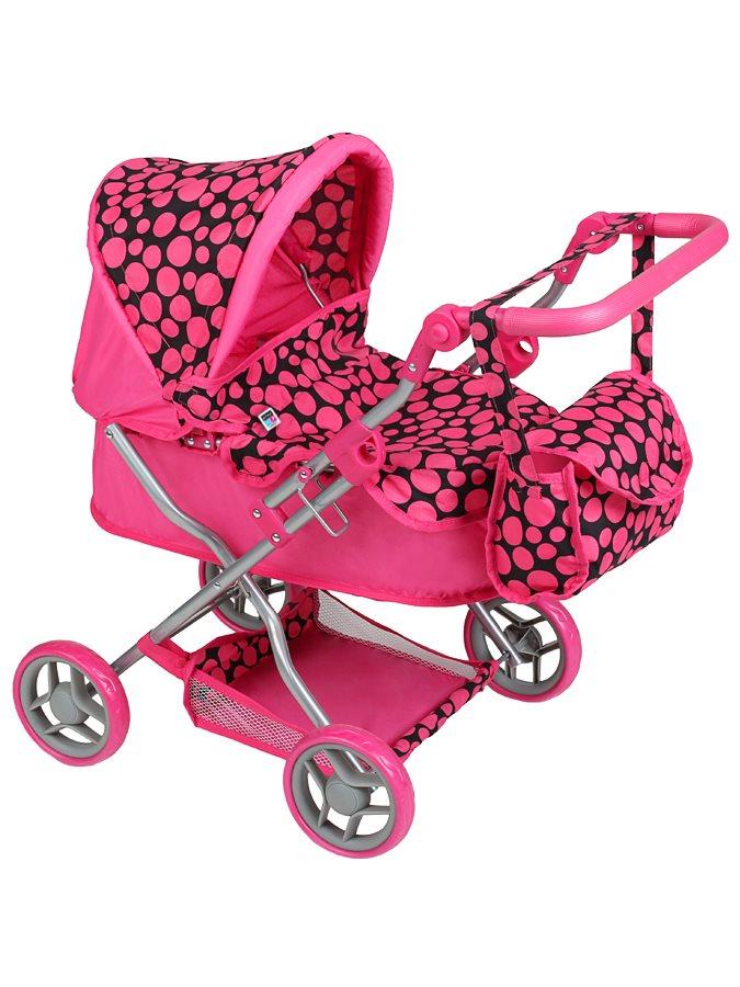 Hluboký kočárek pro panenky PlayTo Viola - růžová