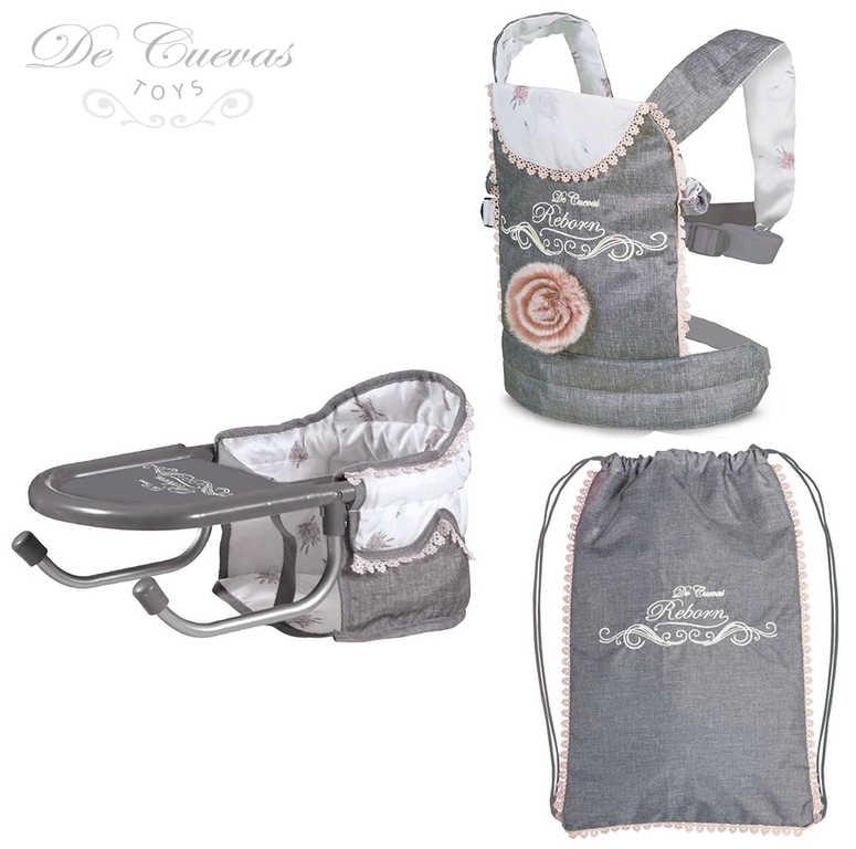 DECUEVAS Set cestovní Reborn 3v1 židlička nosítko batoh pro panenku miminko
