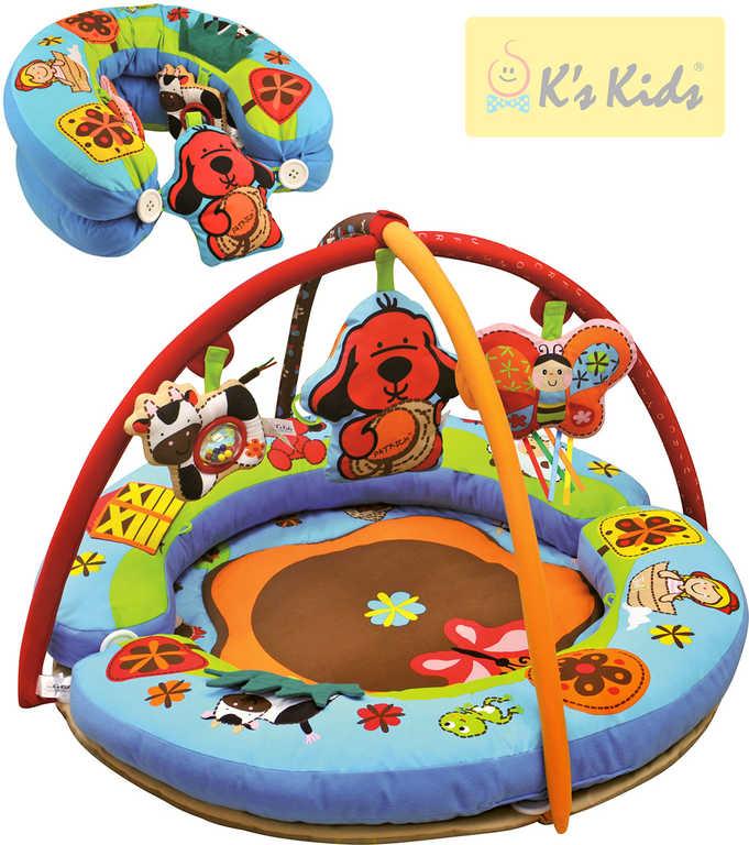 K´S KIDS Aréna baby kulatá s hrazdou a hračkami multifunkční hrací deka sedátko