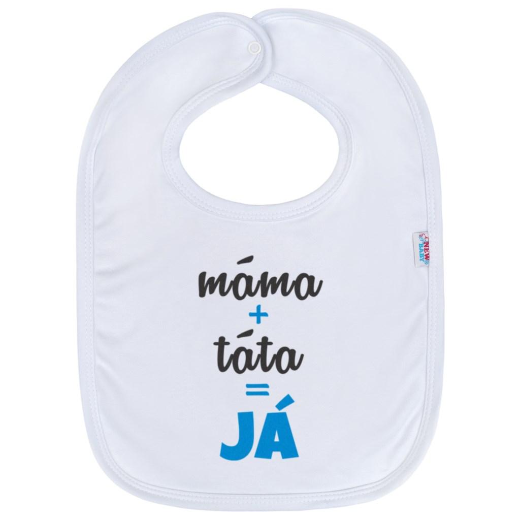 Kojenecký bavlněný bryndák New Baby máma+táta=JÁ - modrá