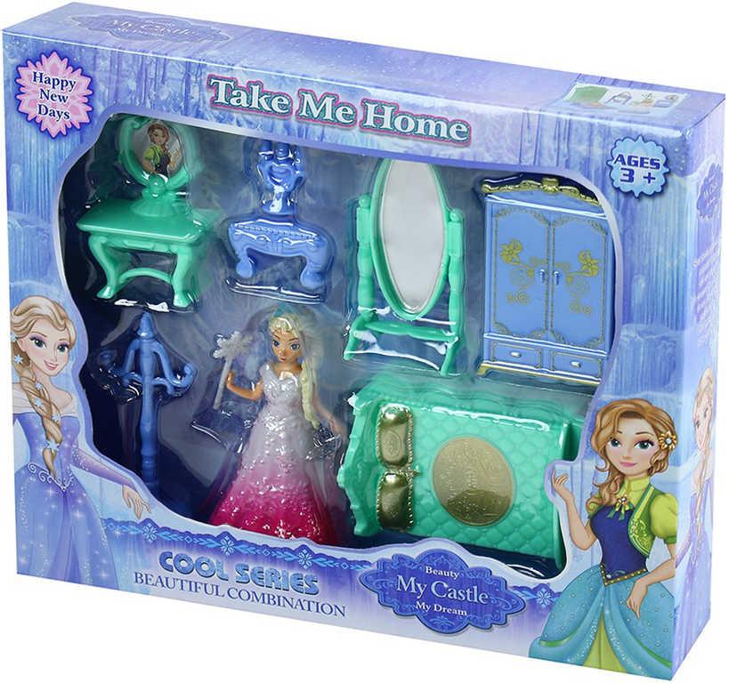 Nábytek pro panenky zimní království herní set s panenkou v krabici
