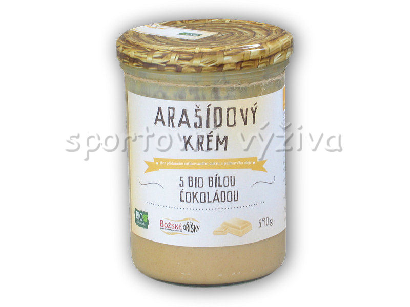 Arašídový krém s bílou BIO čokoládou 390g