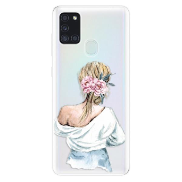 Odolné silikonové pouzdro iSaprio - Girl with flowers - Samsung Galaxy A21s